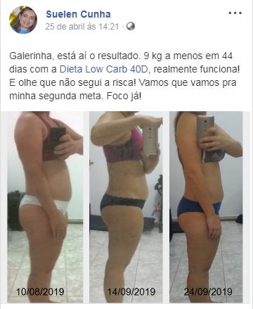 depoimento antes e depois dieta low carb 40d